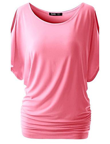 여성용 솔리드 할로우 아웃 - 티셔츠, 스트리트 쉬크 데이트 면