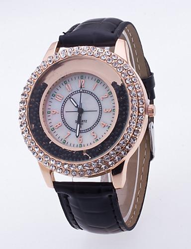 Mulheres Quartzo Relógios Femininos com Cristais Relógio Pavé Relógio de Pulso Relógio Elegante Relógio Esportivo Mostrador Grande Couro