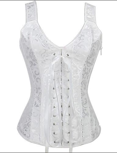 Corset Vêtement de nuit Femme Jacquard Polyester Spandex Modal Blanc Aux femmes