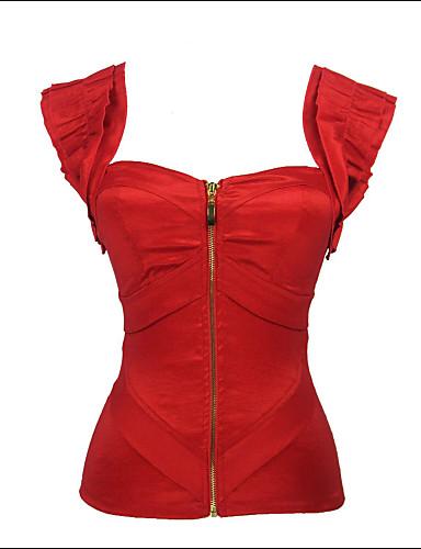 Vrouw Overbuste korset Nachtkleding-Effen Polyester / Modal Rood Vrouwen