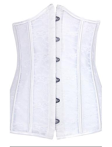 Kanca ve Göz Göğüs Altı Korse Büyük Beden Solid Pamuklu Modal Polyester Naylon Splandeks Dantelalar Kadın's Beyaz