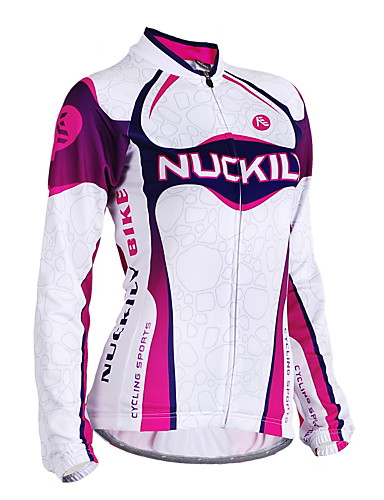 cheap Cycling Clothing-Nuckily Women's Long Sleeve Cycling Jersey - Purple Stripes Bike Jersey Top Windproof Breathable Anatomic Design Sports Polyester Mountain Bike MTB Road Bike Cycling Clothing Apparel / Stretchy