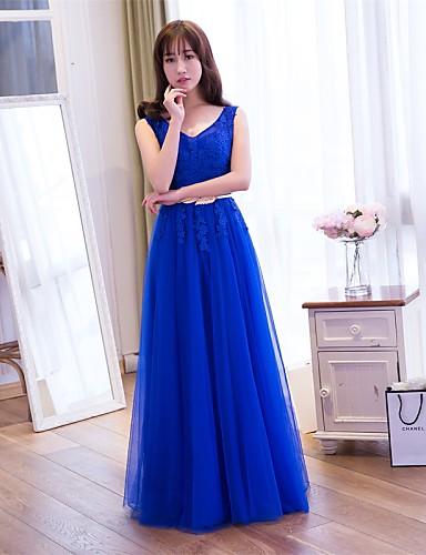 프롬 / 포멀 이브닝 드레스 A-라인 V-넥 바닥 길이 레이스 / 튤 와 아플리케 / 레이스