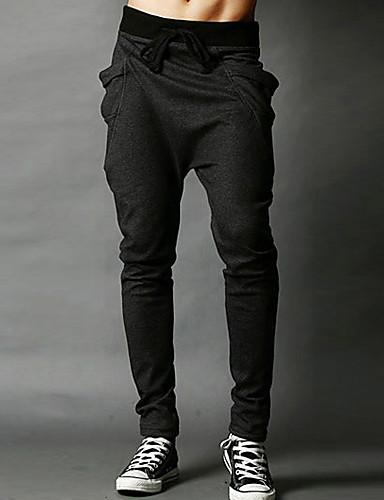 お買い得  メンズパンツ&ショーツ-男性用 活発的 スポーツ カジュアル 週末 スリム 活発的 / リラックス / スウェットパンツ パンツ - ソリッド アーティスティック コットン ワイン ダークグレイ ライトグレー L XL XXL