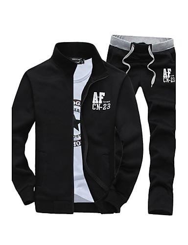 cheap Men's Slogan & Letter Print Hoodies-Men's Sports Active Long Sleeve Slim Activewear Set - Letter Stand Black XL / Spring / Fall / Winter
