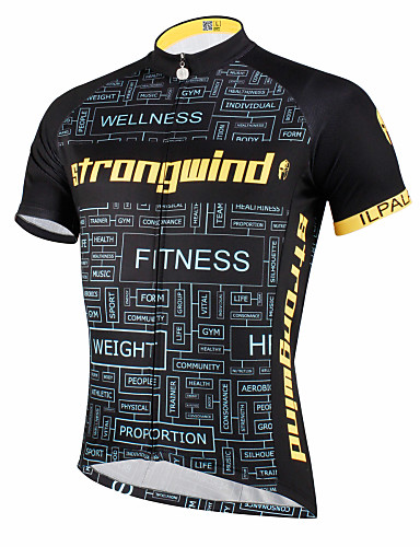 cheap Cycling Clothing-ILPALADINO Men's Unisex Short Sleeve Cycling Jersey - Black / Yellow Black with White Bike Jersey Top Breathable Quick Dry Ultraviolet Resistant Sports Polyester 100% Polyester Terylene Mountain Bike