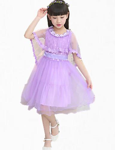 Mädchen Kleid Ausgehen Patchwork Baumwolle Sommer Ärmellos Zum Kleid Spitze Weiß Purpur Rosa