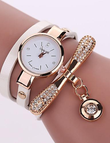Mulheres Bracele Relógio Relógio de Moda Quartzo Gravação Oca PU Banda Elegant Preta Branco Azul Vermelho Marrom Verde