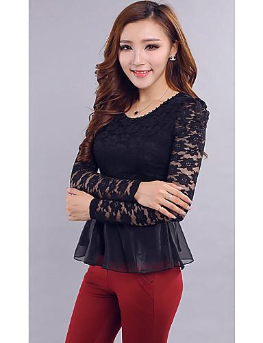 Bluza Ženske,Jednostavno Ležerno/za svaki dan Plus veličine Jednobojni-Dugih rukava Okrugli izrez-Ljeto Neprozirno Poliester