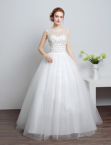 cheap Ball Gown Wedding Dresses-Ball Gown Jewel Neck Floor Length Lace / Satin / Tulle Made-To-Measure Wedding Dresses with Lace by LAN TING Express / Sparkle & Shine