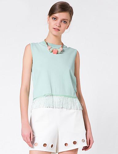 Goelia® Damen Rundhalsausschnitt Ärmellos Pullover & Cardigan Grün-164W5G030