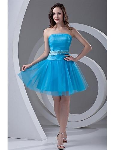 A-Linie Trägerlos Kurz / Mini Tüll Cocktailparty Ball Kleid mit Perlenstickerei Drapiert Schärpe / Band durch TS Couture®
