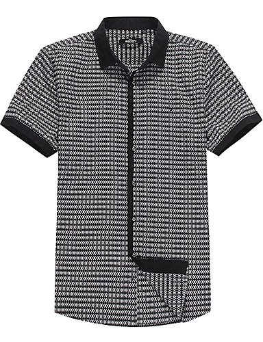 Sieben Brand® Herren Hemdkragen Kurze Ärmel Shirt & Bluse Schwarz-704A346288