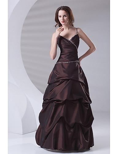 גזרת A רצועות ספגטי עד הריצפה טפטה ערב רישמי שמלה עם חרוזים כיווצים למעלה בד נשפך בצד על ידי TS Couture®