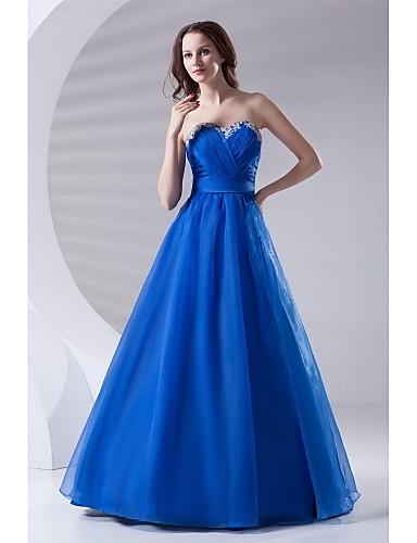 Linha A Decote Princesa Longo Organza Evento Formal Vestido com Miçangas Apliques Drapeado Lateral de TS Couture®