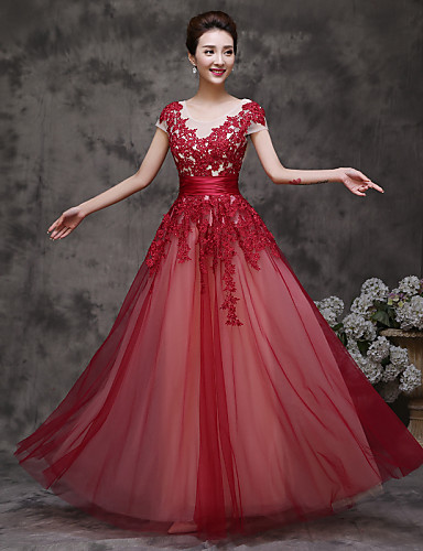 A-라인 환상 목걸이 바닥 길이 튤 댄스 파티 포멀 이브닝 드레스 와 주름장식 으로 TS Couture®