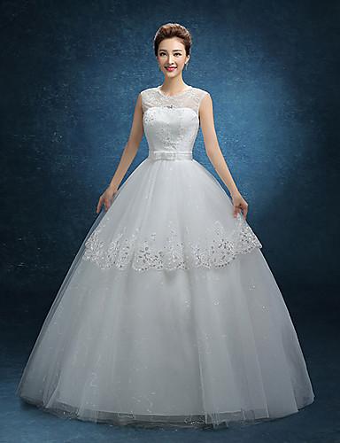 A-Linie Schmuck Boden-Länge Spitze Tüll Hochzeitskleid mit Spitze durch