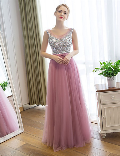 מעטפת \ עמוד אשליה עד הריצפה סאטן טול נשף רקודים ערב רישמי שמלה עם נצנצים על ידי Embroidered Bridal