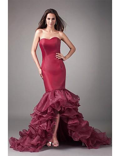 Justo & Evasê Decote Princesa Assimétrico Organza Evento Formal Vestido com Fru-Fru de TS Couture®