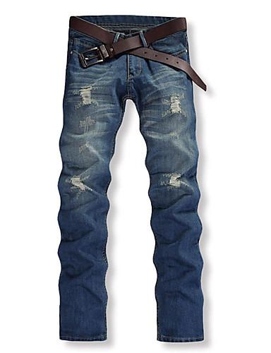 Herre Bomuld Ret Chinos Jeans Bukser Ensfarvet