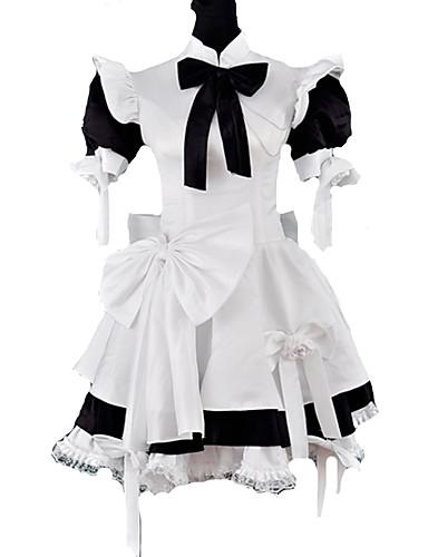 billige Lolita Mote-Prinsesse Gothic Lolita Classic Lolita Stuepike Kostumer Dame Jente Satin Japansk Cosplay-kostymer Svart Lapper Puffermer Kortermet Medium Lengde / Gotisk Lolita / Klassisk og Tradisjonell Lolita