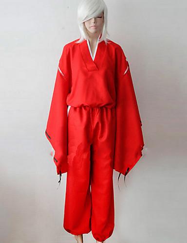 povoljno Anime kostimi-Inspirirana InuYasha Inu Yasha Anime Cosplay nošnje Japanski Cosplay Suits / Kimono Jednobojni Dugih rukava Top / Hlače / Pojas Za Muškarci / Žene
