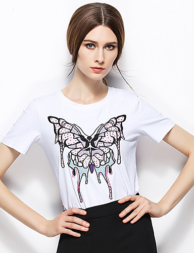 Zishangbaili® Damen Rundhalsausschnitt Kurze Ärmel Shirt & Bluse Weiß-TX1506