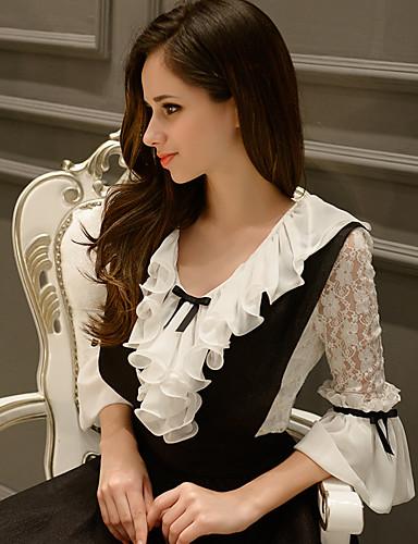 קולור בלוק צווארון רף סגנון רחוב ליציאה חולצה נשים,קיץ אורך חצי שרוול לבן בינוני (מדיום) פוליאסטר / ניילון / ספנדקס