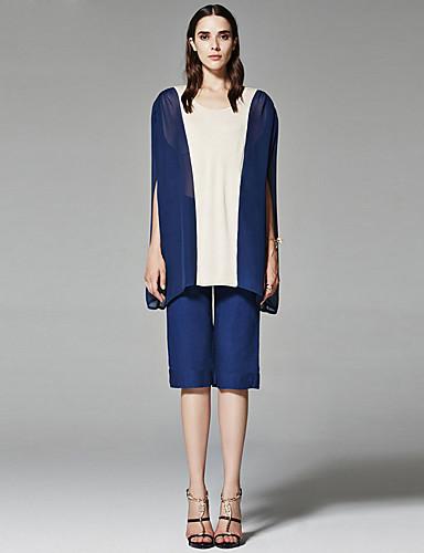 ZigZag® Žene Okrugli izrez Bez rukava Shirt & Bluza Mornarsko plava / Bež - 11050