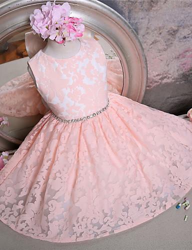 billige Bryllupsfestkjoler-A-linje Kort / mini Blomsterpikekjole - Blonder Ermeløs Besmykket med Sløyfe(r) / Belte / bånd av LAN TING Express