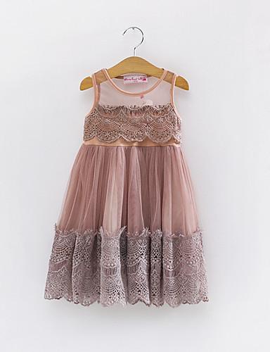 שמלה כותנה קיץ ללא שרוולים יומי קולור בלוק הילדה של תחרה בז' חום בהיר
