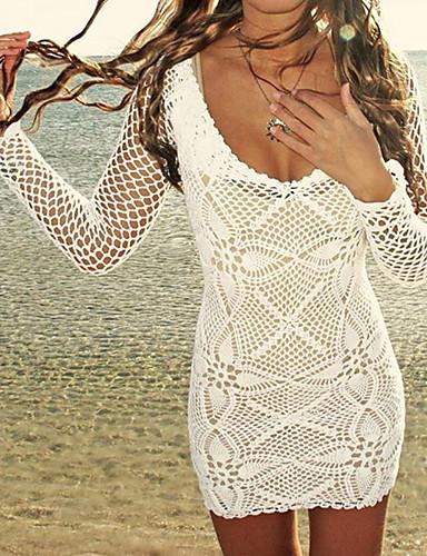 לבן מוצק בגדי ים חלק אחד (שלם) כיסוי קולר נשים