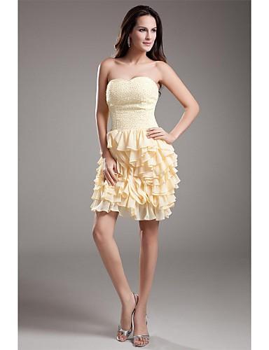 Mantel / Spalte Schatz kurz / Mini Chiffon Cocktail Party Kleid mit Perlen Rüschen