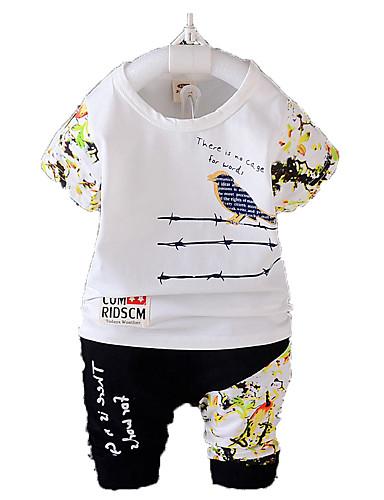 Baby Jungen Kleidungs Set Baumwolle Sommer Ärmellos Zeichentrick Weiß Gelb Rot Hellgrau