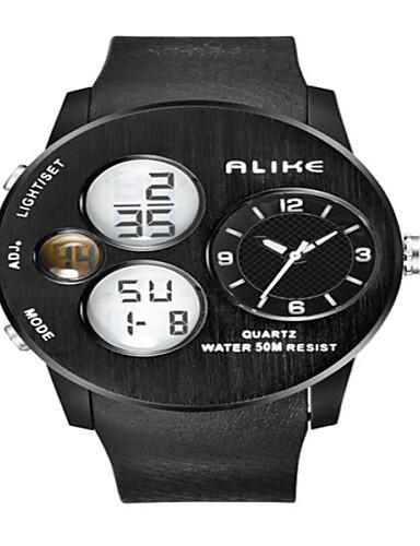 גברים שעוני ספורט שעונים צבאיים שעון יד קווארץ LED לוח שנה כרונוגרף עמיד במים אזור זמן כפול אזעקה PU להקה יוקרתי שחורשחור כתום אדום ירוק