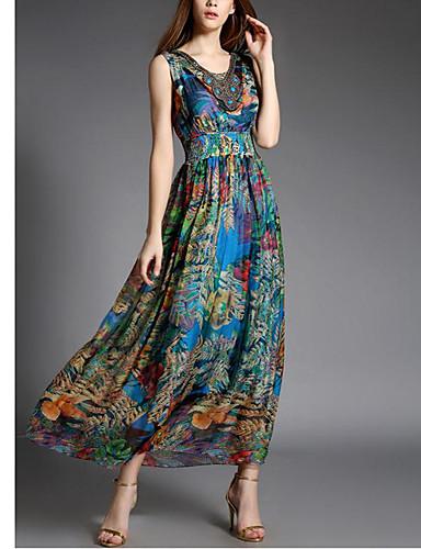 Hülle Kleid-Ausgehen Street Schick Druck V-Ausschnitt Maxi Ärmellos Blau Seide Sommer Hohe Hüfthöhe