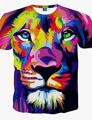 Hombre Tallas Grandes Estampado Camiseta, Escote Redondo Animal León / Manga Corta