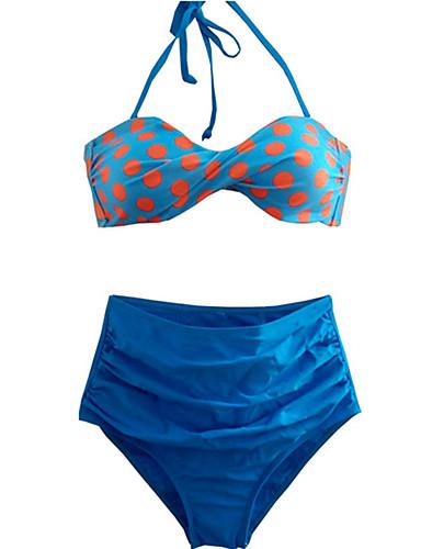 Kvinner Prikket Retro Grime Bikini Nylon Spandex