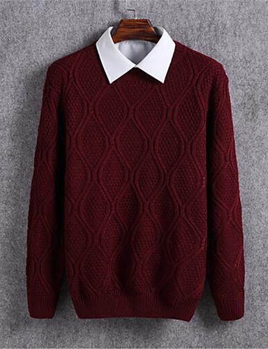 Herrn Alltag Solide Langarm Standard Pullover Beige / Marinenblau / Wein L / XL / XXL