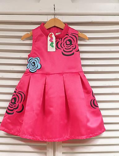 Menina de Vestido,Casual Estampado Poliéster Verão Vermelho