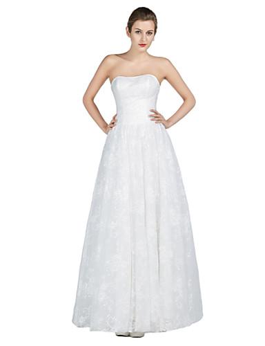 Tubinho Vestido de Noiva Longo Tomara que Caia Renda / Cetim / Tule com Miçanga / Cristais / Renda