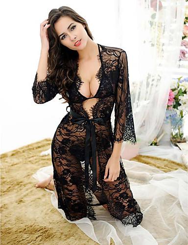 Mulheres Sexy Super Sensual Lingerie com Renda Roupa de Noite Jacquard