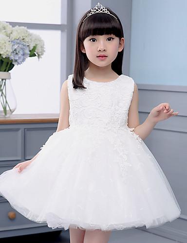 גזרת A באורך  הברך שמלה לנערת הפרחים - כותנה / תחרה / טול ללא שרוולים עם תכשיטים עם
