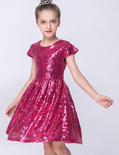 Mädchen Kleid Alltag Solide Polyester Sommer Kurzarm Gold Fuchsia Blau