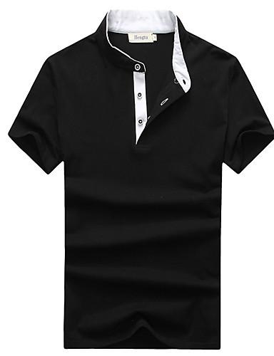 Herren T-shirt-Einfarbig Freizeit / Übergröße Baumwolle / Elasthan Kurz-Schwarz / Blau / Weiß / Grau