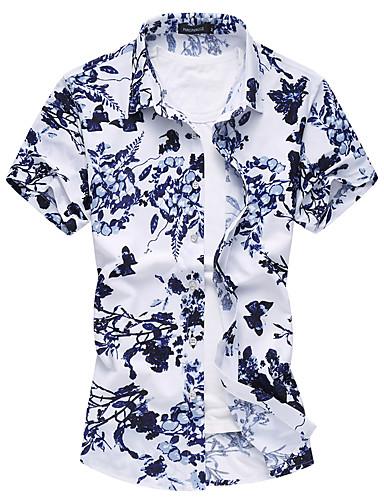 Menn Kortermet Skjorte Bomull / Polyester Fritid / Plusstørrelse Blomstret