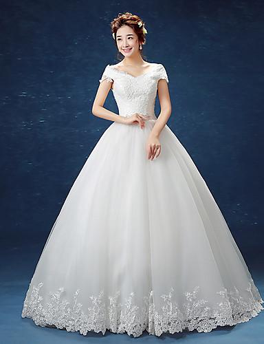 De Baile Ombro a Ombro Longo Renda sobre Tule Vestidos de casamento feitos à medida com Renda de / Inspiração Vintage