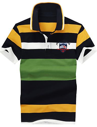 Pánské - Proužky Jednoduchý Tričko, Moderní styl / Smíšené barvy Bavlna Košilový límec