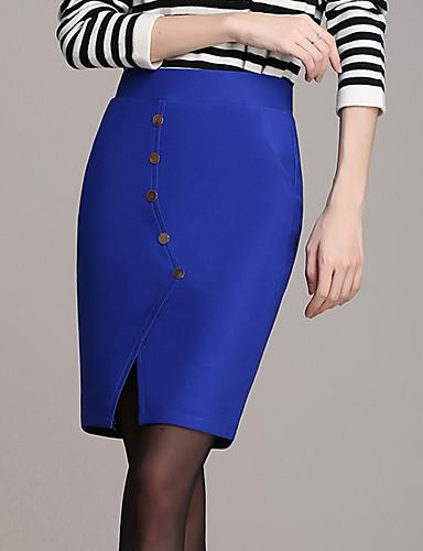 Damen Röcke - Leger Übers Knie Polyester Mikro-elastisch