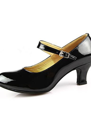 billige Dansesko-Dame Dansesko PU Lær / Lakklær Moderne sko / Ballett Spenne Høye hæler Kubansk hæl Kan ikke spesialtilpasses Rød / Sølv / Gull / EU40